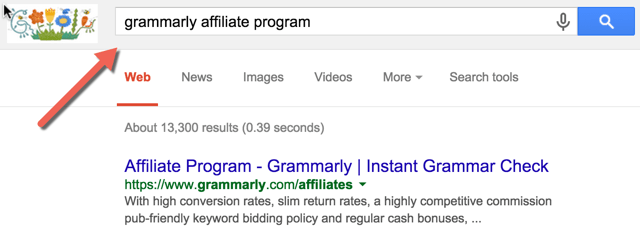 Google search of affiliate marketing